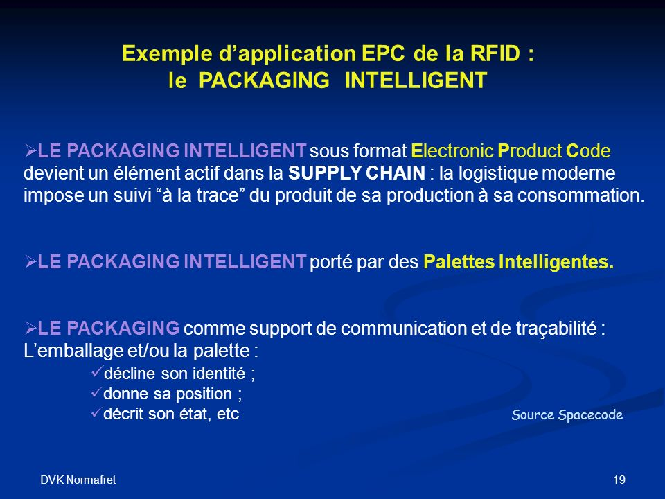 Exemple d'application EPC de la RFID : le PACKAGING INTELLIGENT