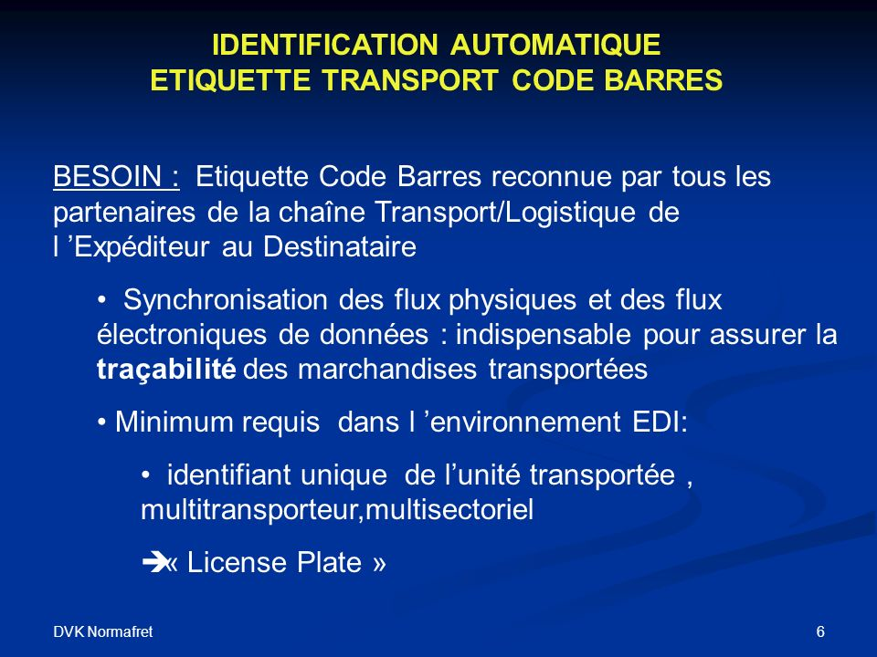 IDENTIFICATION AUTOMATIQUE ETIQUETTE TRANSPORT CODE BARRES