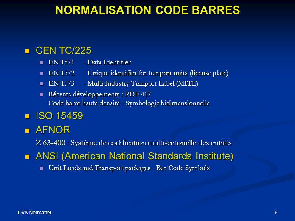 NORMALISATION CODE BARRES