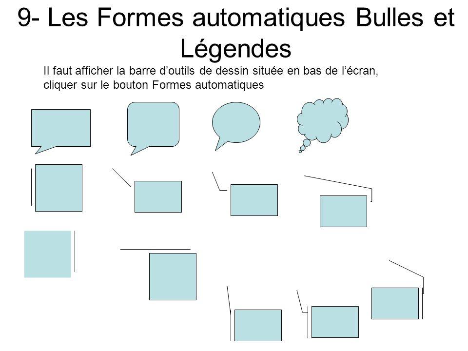 9- Les Formes automatiques Bulles et Légendes