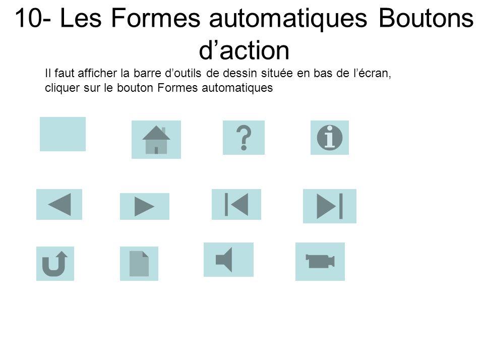 10- Les Formes automatiques Boutons d'action