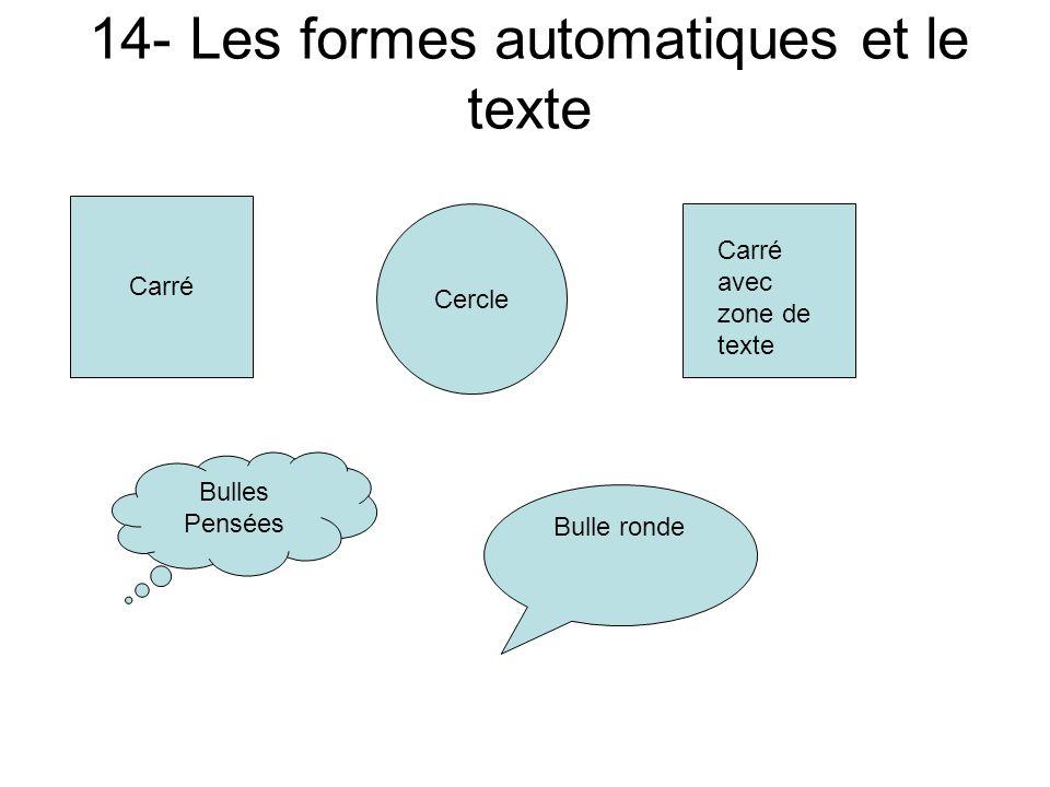 14- Les formes automatiques et le texte