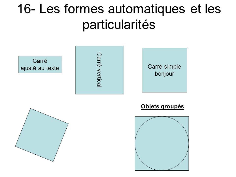16- Les formes automatiques et les particularités