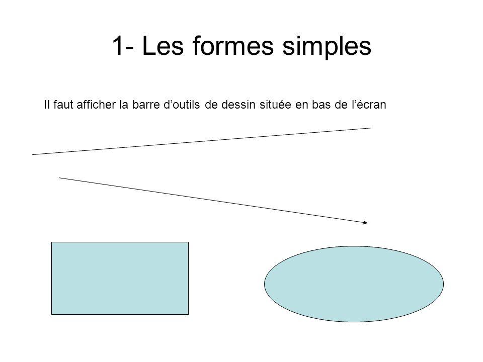 Entête du commentaire 30/03/2017. 1- Les formes simples. Il faut afficher la barre d'outils de dessin située en bas de l'écran.