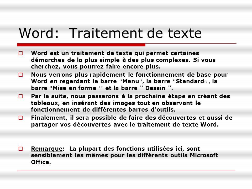 Word: Traitement de texte