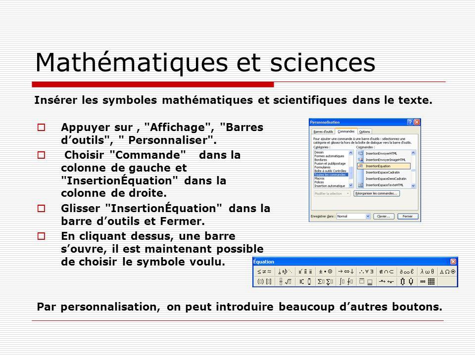 Mathématiques et sciences