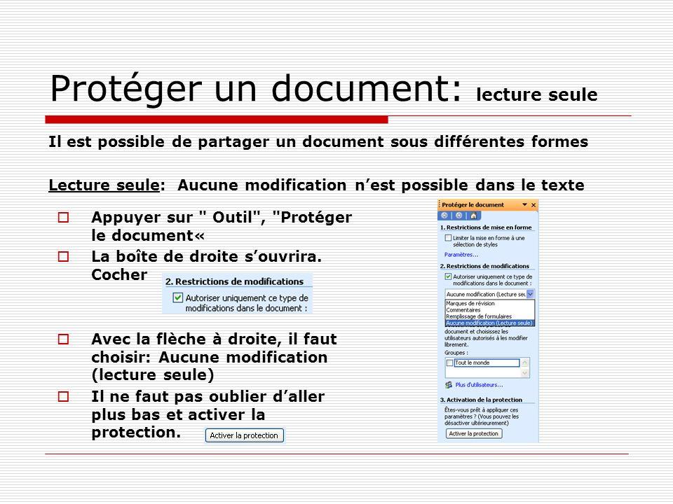 Protéger un document: lecture seule