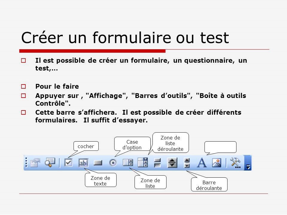 Créer un formulaire ou test