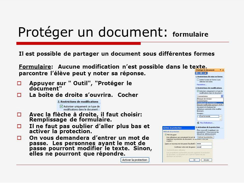 Protéger un document: formulaire