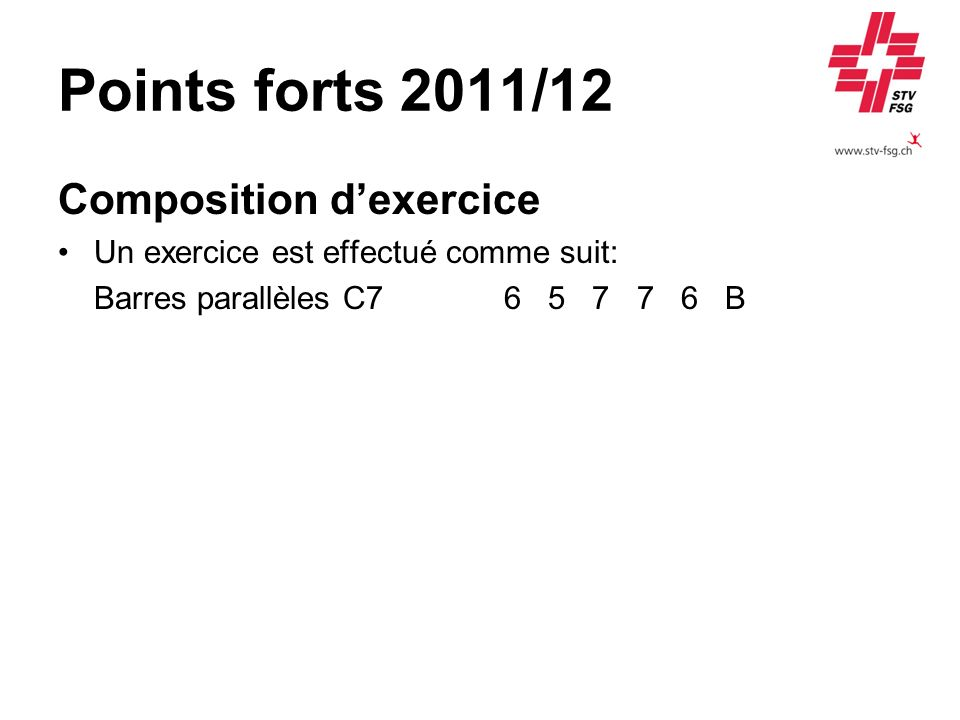Points forts 2011/12 Composition d'exercice