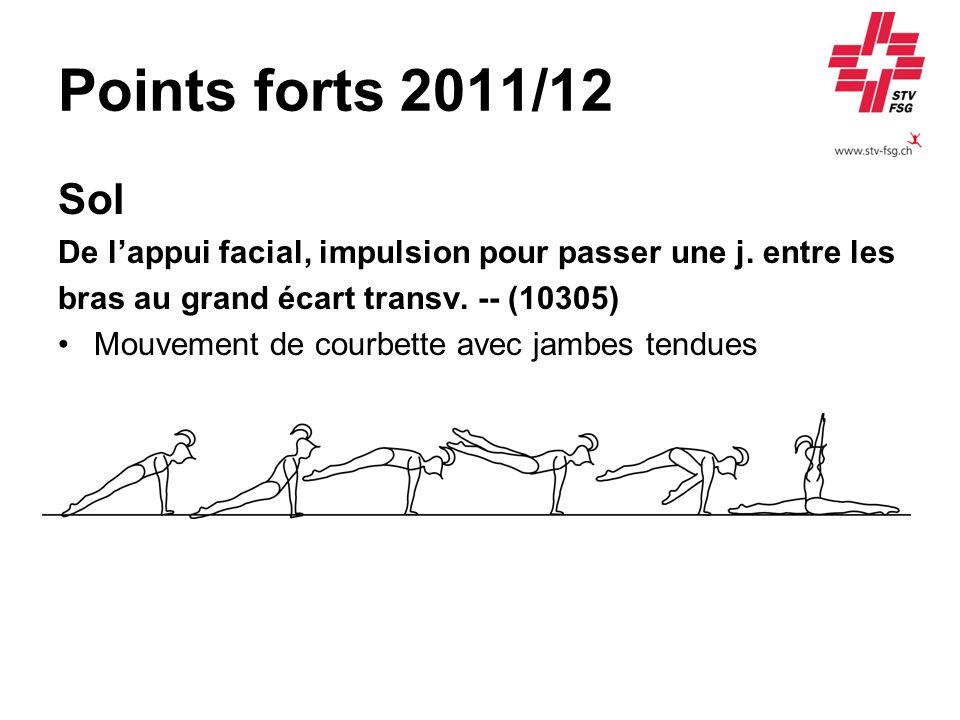 Points forts 2011/12 Sol. De l'appui facial, impulsion pour passer une j. entre les. bras au grand écart transv. -- (10305)