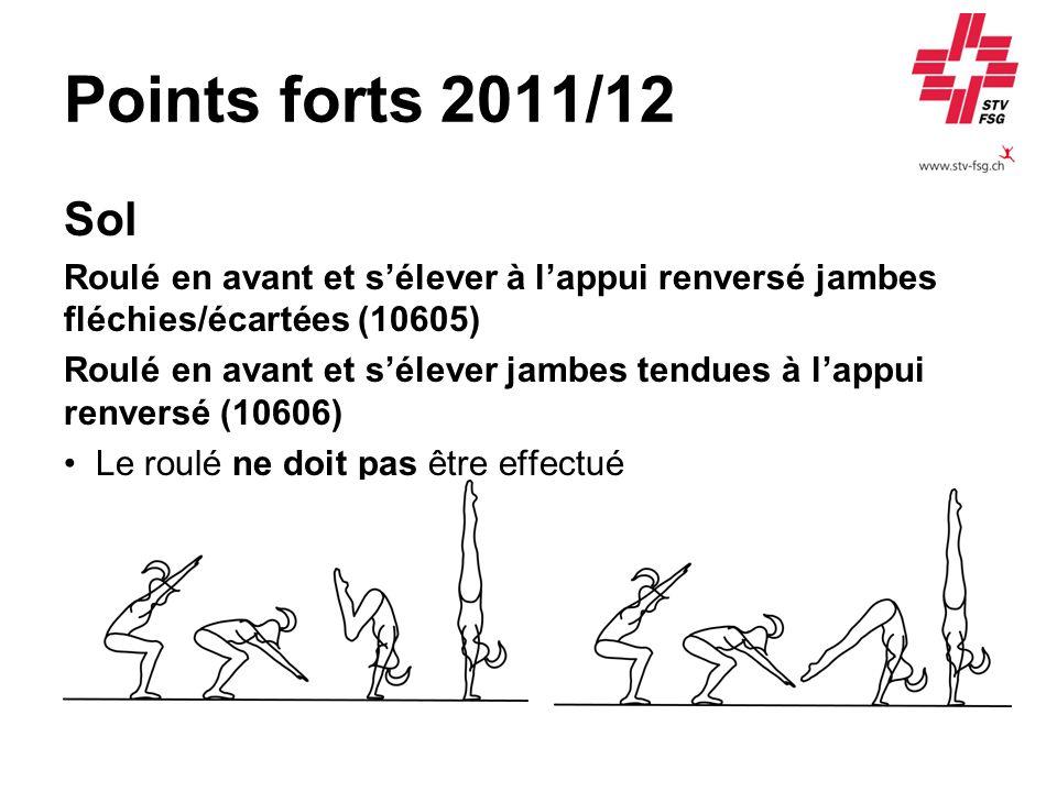Points forts 2011/12 Sol. Roulé en avant et s'élever à l'appui renversé jambes fléchies/écartées (10605)