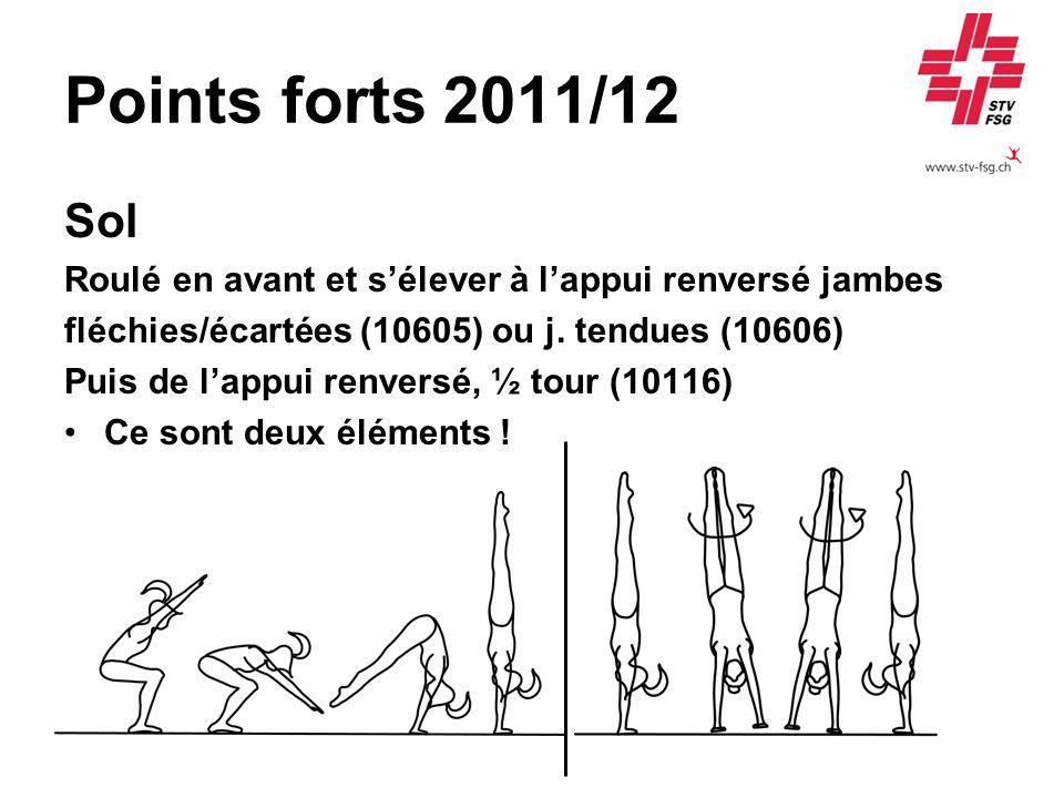Points forts 2011/12 Sol. Roulé en avant et s'élever à l'appui renversé jambes. fléchies/écartées (10605) ou j. tendues (10606)