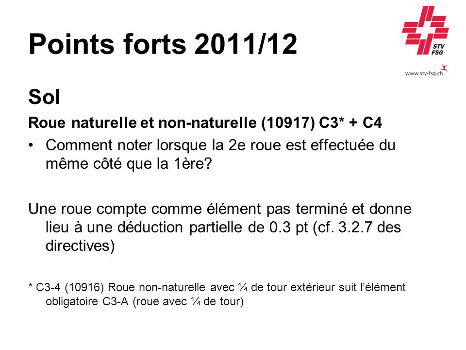 Points forts 2011/12 Sol. Roue naturelle et non-naturelle (10917) C3* + C4.