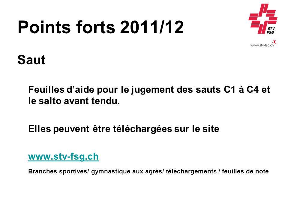 Points forts 2011/12 Saut. Feuilles d'aide pour le jugement des sauts C1 à C4 et le salto avant tendu.