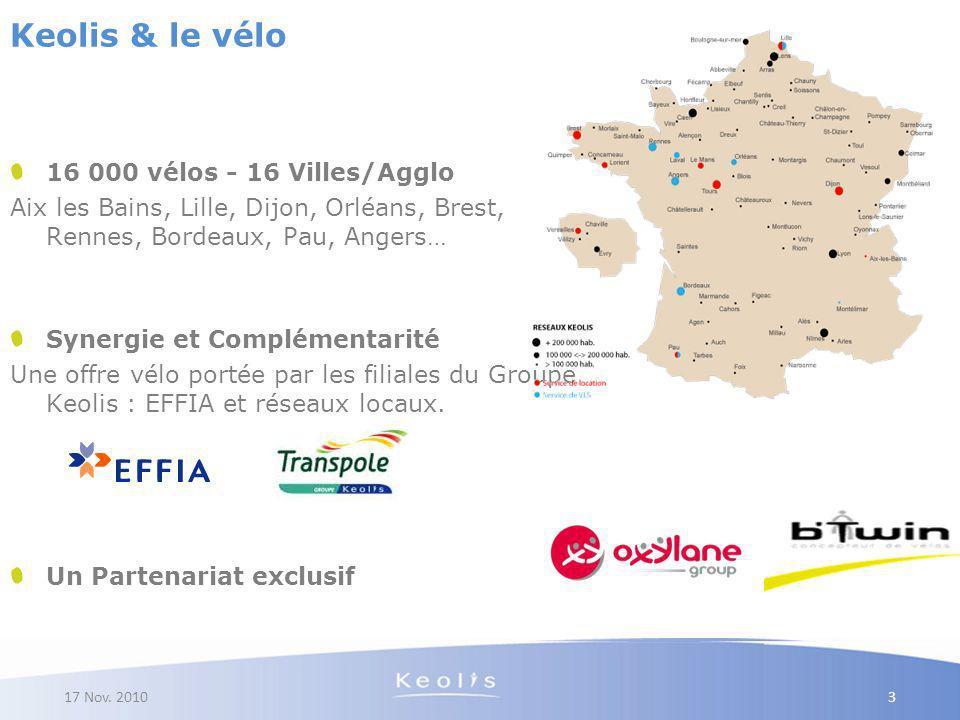Keolis & le vélo 16 000 vélos - 16 Villes/Agglo