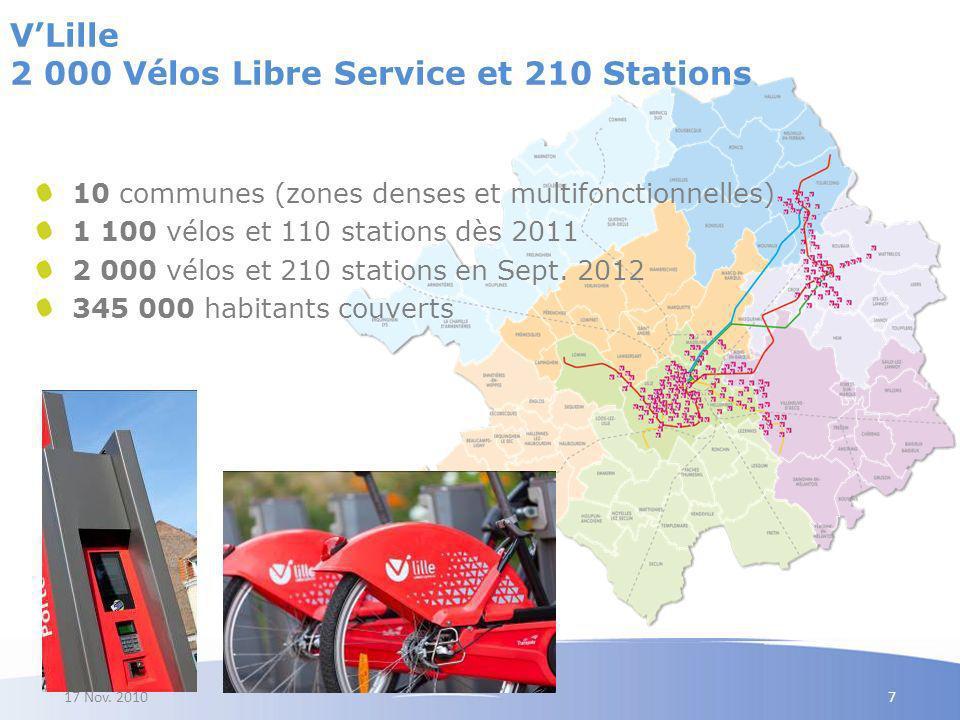 V'Lille 2 000 Vélos Libre Service et 210 Stations