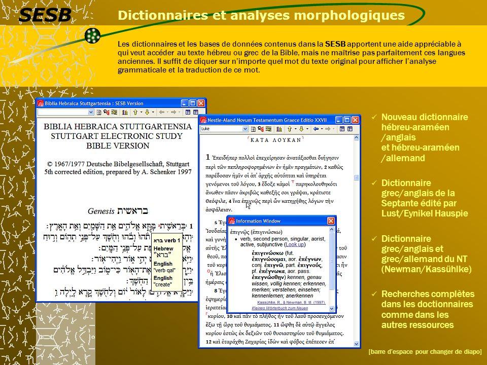 Dictionnaires et analyses morphologiques