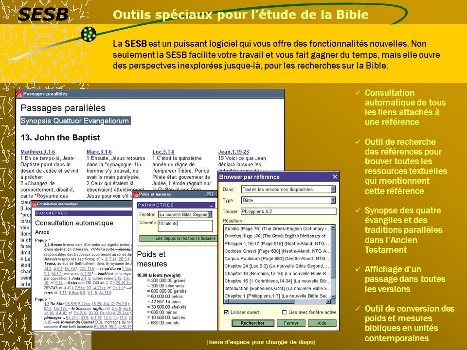 Outils spéciaux pour l'étude de la Bible