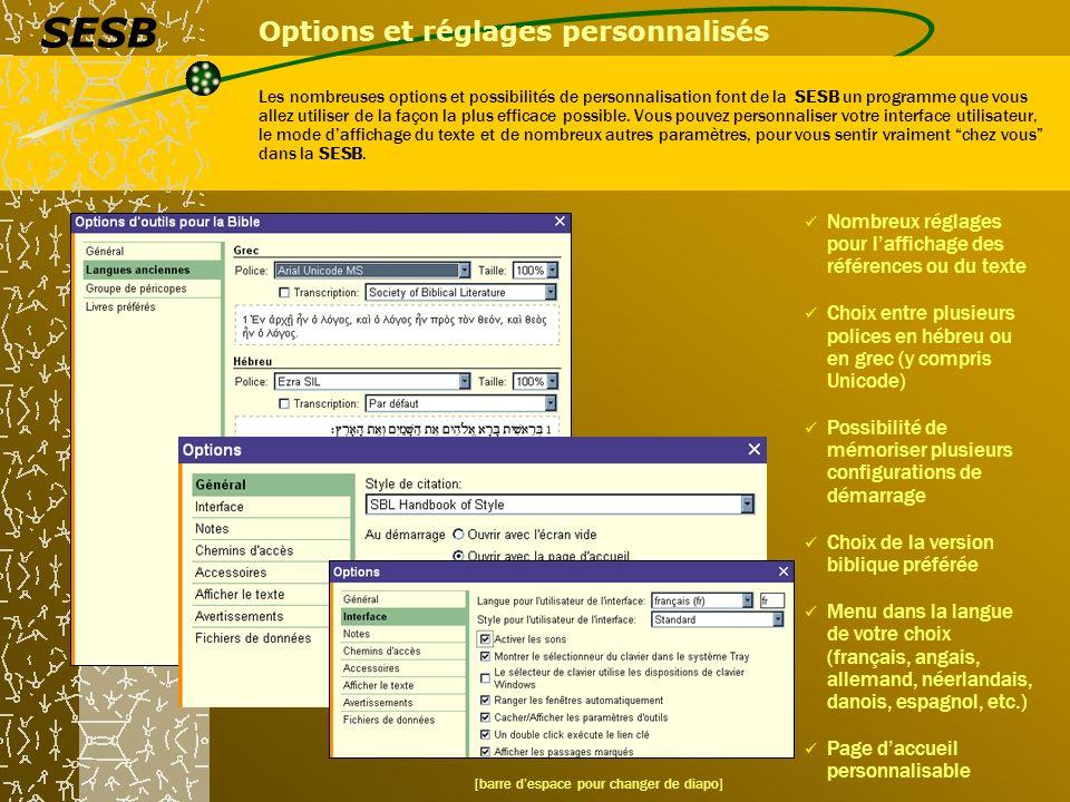 Options et réglages personnalisés