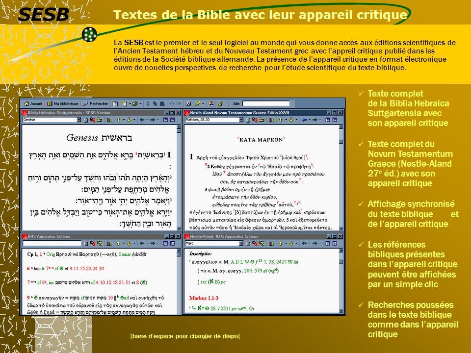 Textes de la Bible avec leur appareil critique