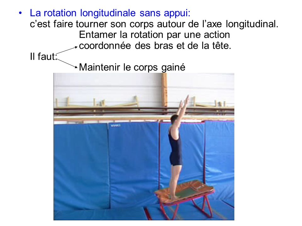 La rotation longitudinale sans appui: c'est faire tourner son corps autour de l'axe longitudinal.