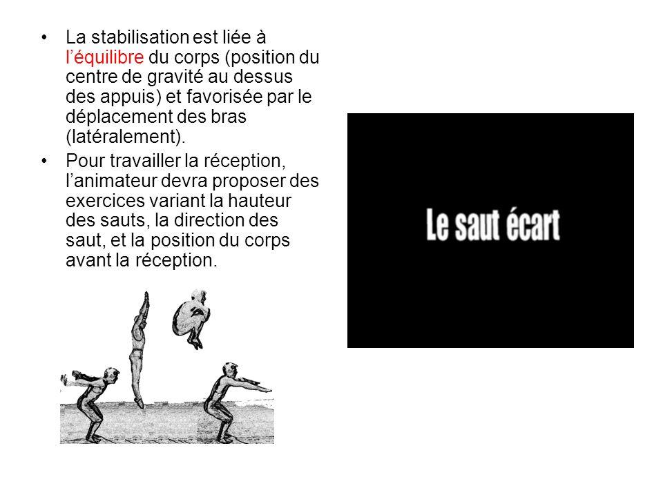La stabilisation est liée à l'équilibre du corps (position du centre de gravité au dessus des appuis) et favorisée par le déplacement des bras (latéralement).