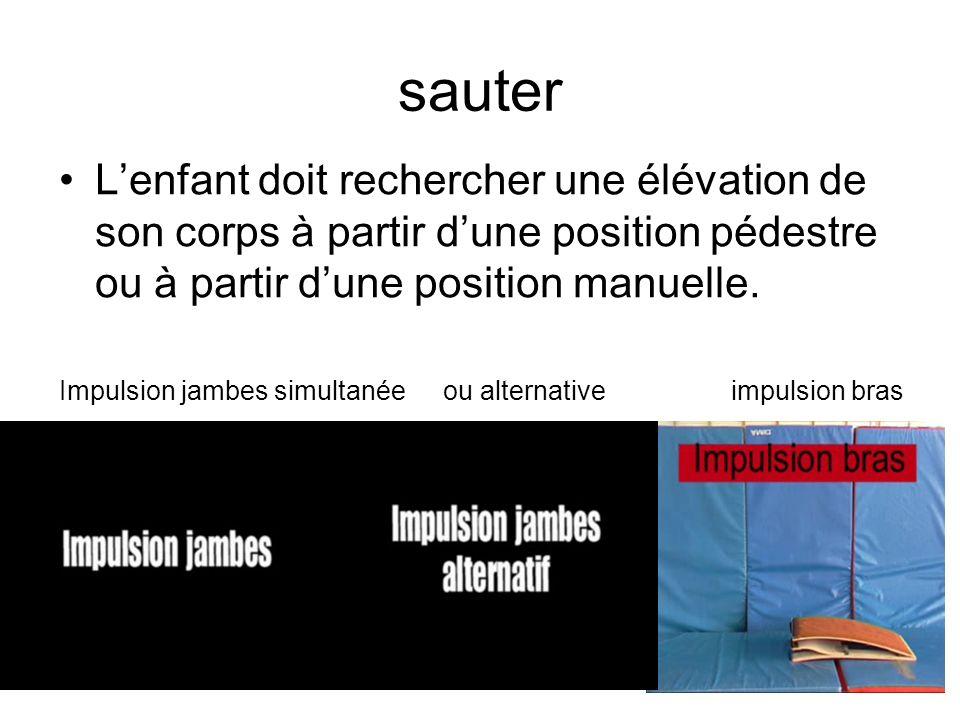 sauter L'enfant doit rechercher une élévation de son corps à partir d'une position pédestre ou à partir d'une position manuelle.