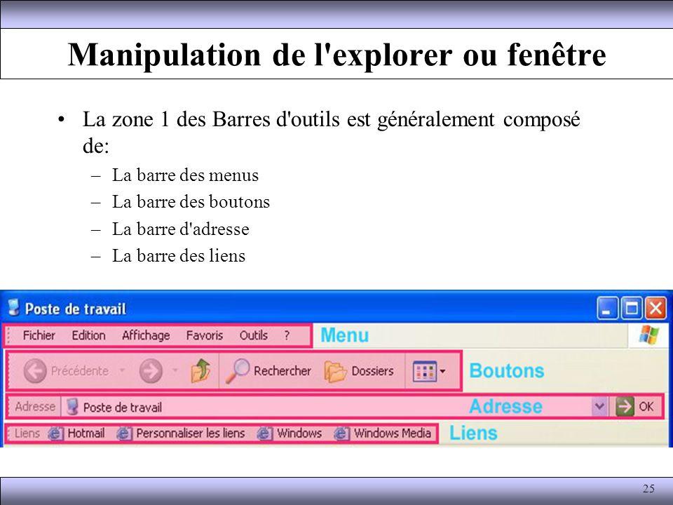 Manipulation de l explorer ou fenêtre