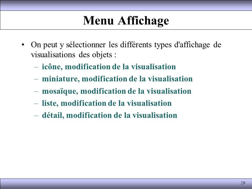 Menu Affichage On peut y sélectionner les différents types d affichage de visualisations des objets :