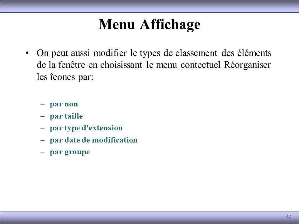 Menu Affichage On peut aussi modifier le types de classement des éléments de la fenêtre en choisissant le menu contectuel Réorganiser les îcones par: