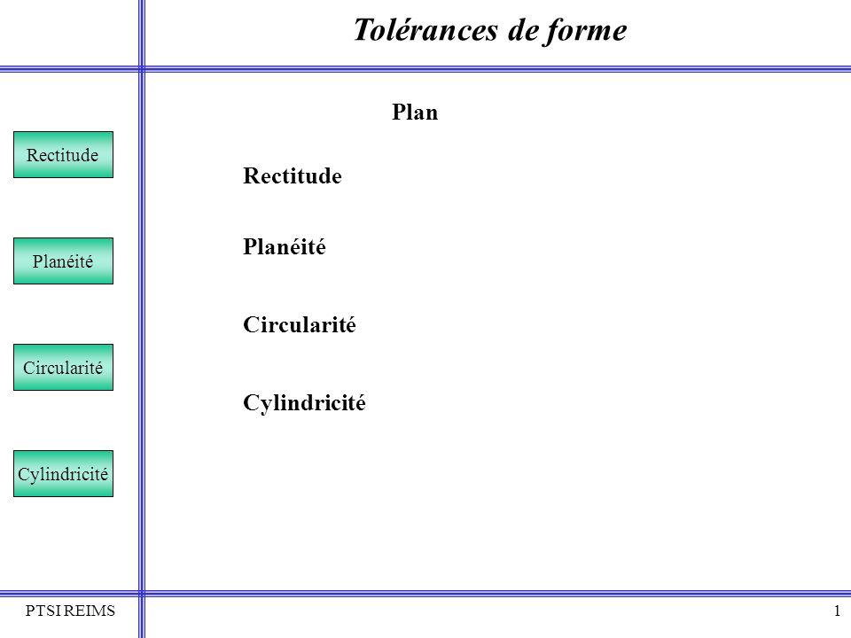 Tolérances de forme Plan Rectitude Planéité Circularité Cylindricité