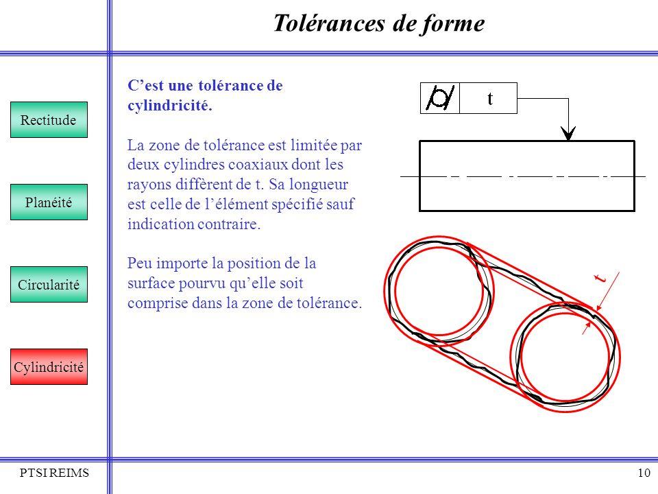 Tolérances de forme t C'est une tolérance de cylindricité.