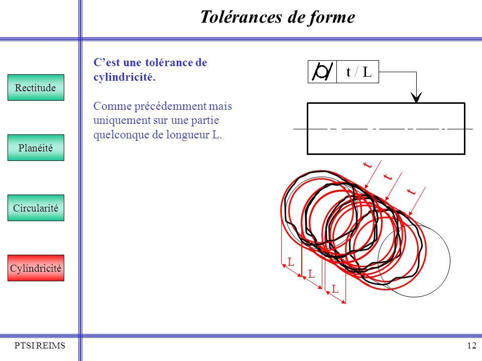 Tolérances de forme t t t C'est une tolérance de cylindricité.