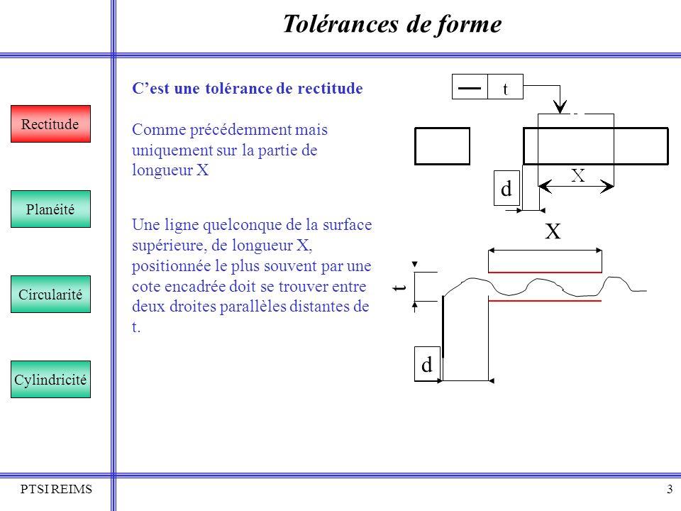 Tolérances de forme d X t d C'est une tolérance de rectitude