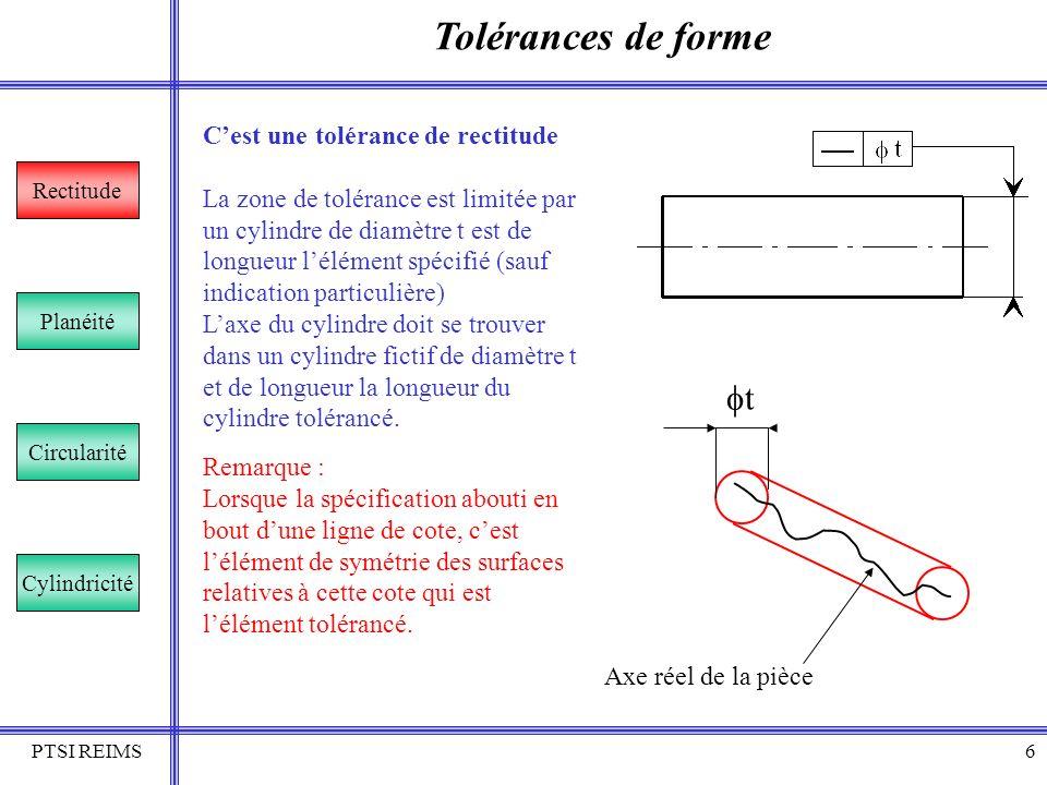 Tolérances de forme ft C'est une tolérance de rectitude