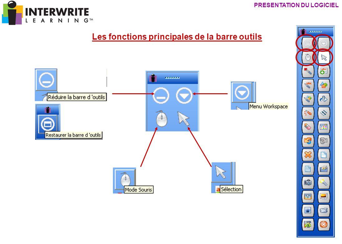 PRESENTATION DU LOGICIEL Les fonctions principales de la barre outils