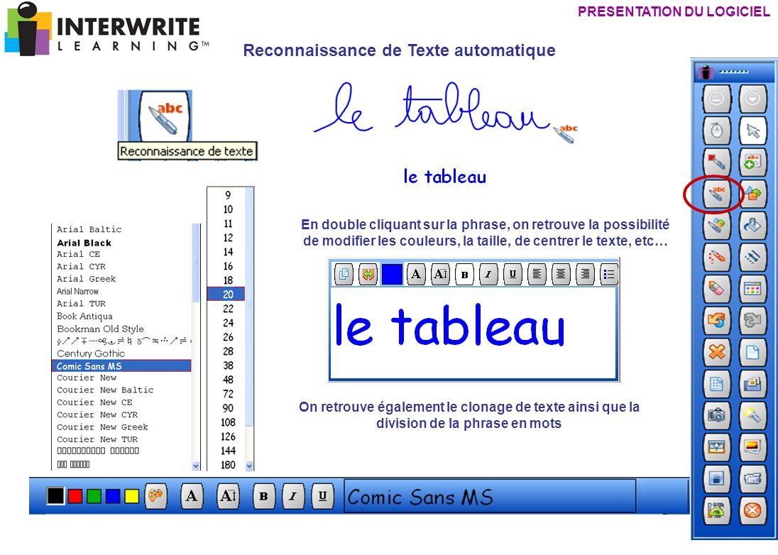 PRESENTATION DU LOGICIEL Reconnaissance de Texte automatique