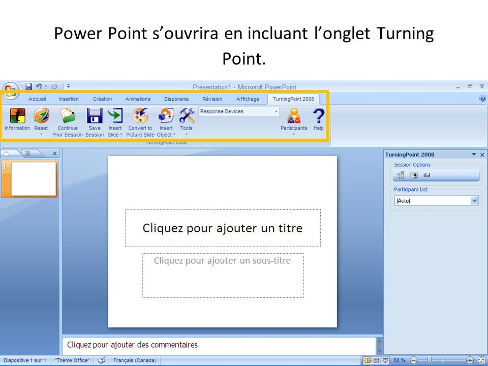 Power Point s'ouvrira en incluant l'onglet Turning Point.