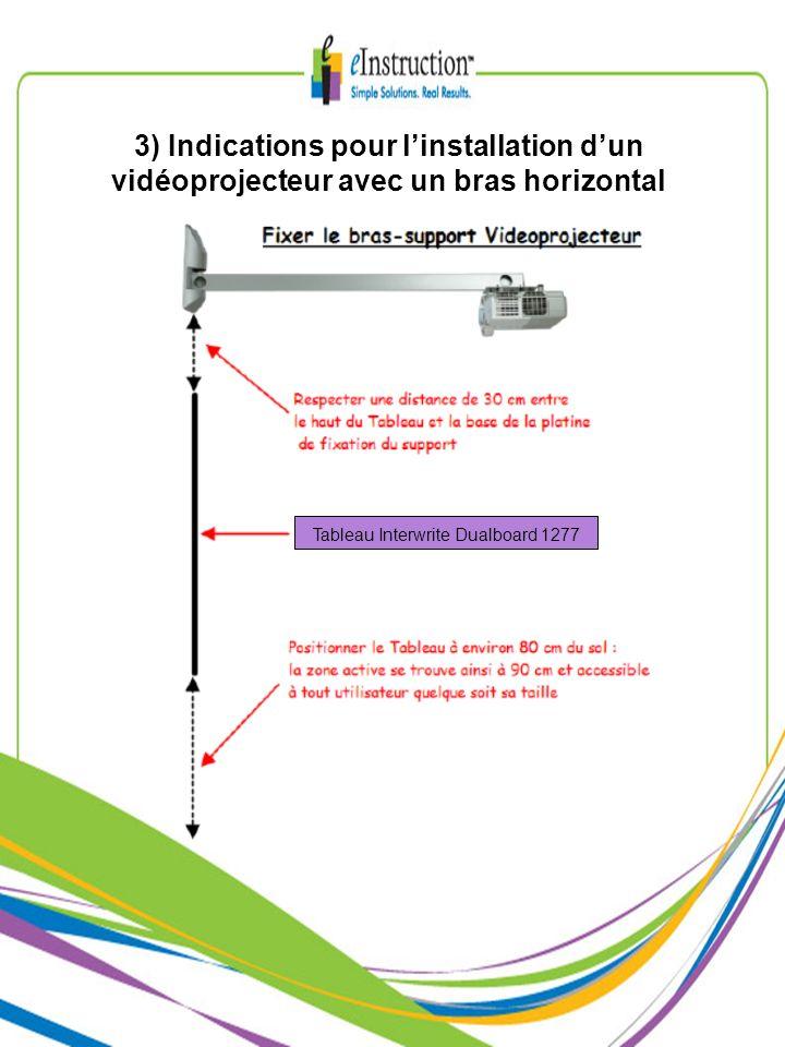 3) Indications pour l'installation d'un vidéoprojecteur avec un bras horizontal