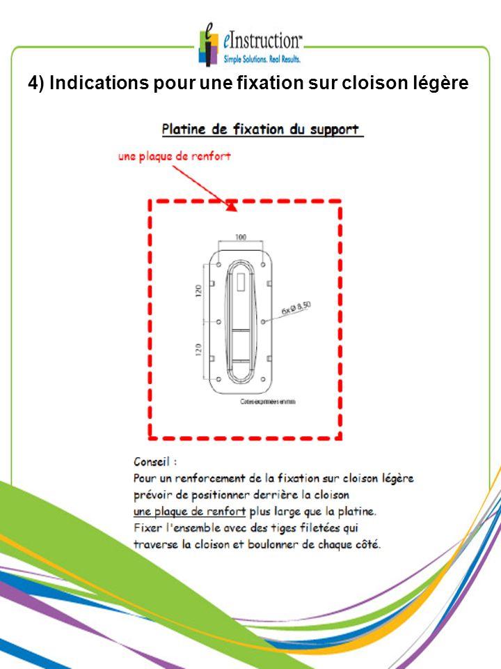 4) Indications pour une fixation sur cloison légère