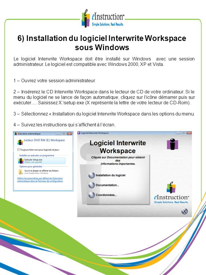 6) Installation du logiciel Interwrite Workspace sous Windows