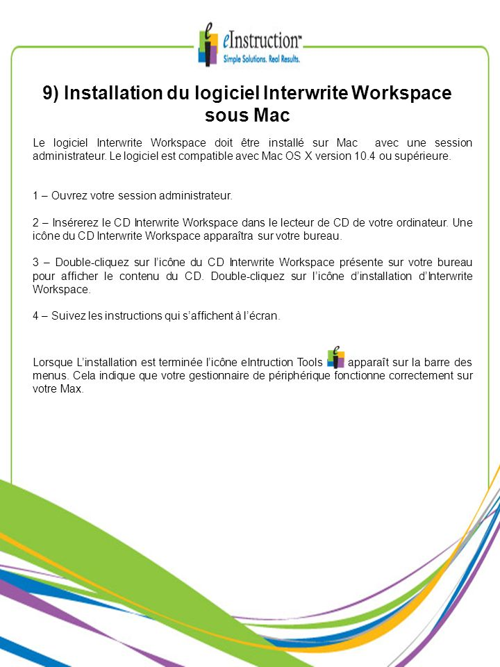 9) Installation du logiciel Interwrite Workspace sous Mac