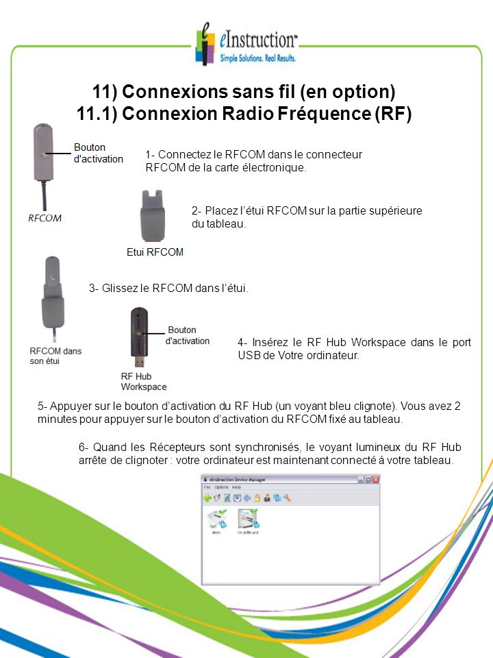 11) Connexions sans fil (en option)