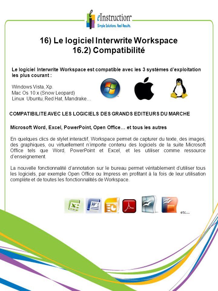 16) Le logiciel Interwrite Workspace 16.2) Compatibilité