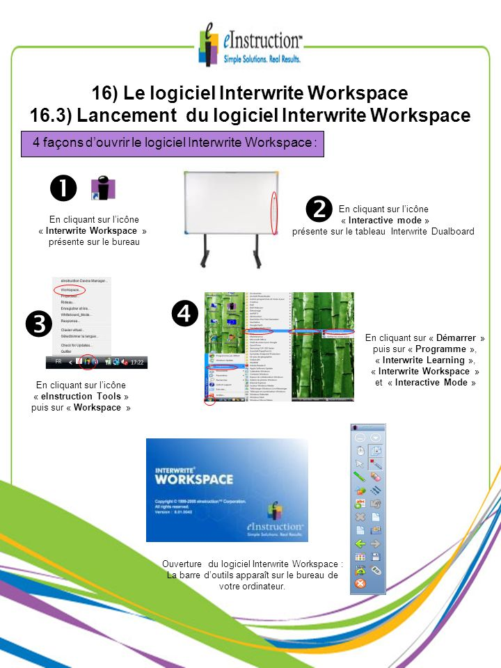 16) Le logiciel Interwrite Workspace 16