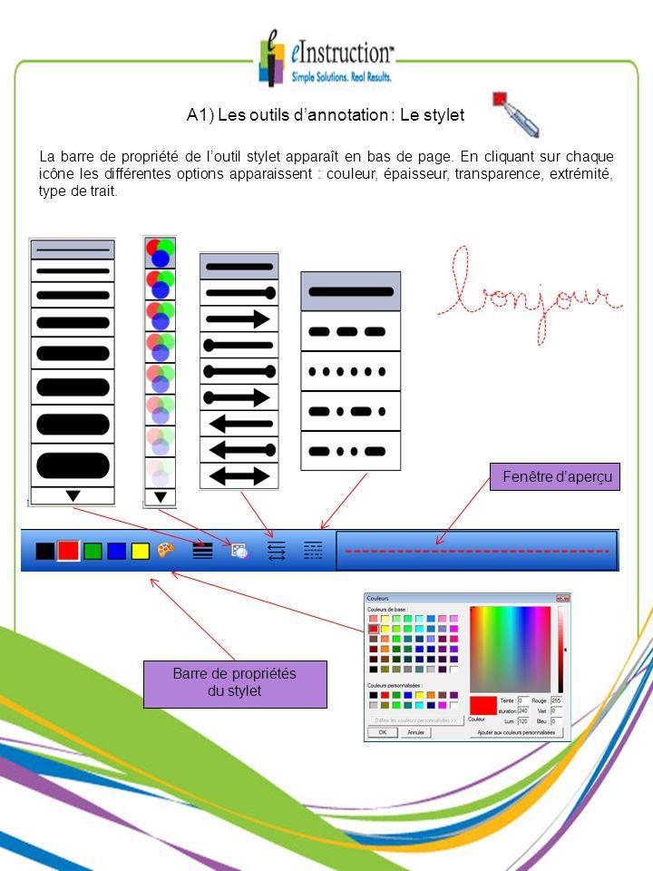 A1) Les outils d'annotation : Le stylet