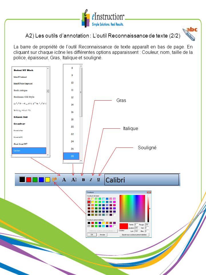 A2) Les outils d'annotation : L'outil Reconnaissance de texte (2/2)
