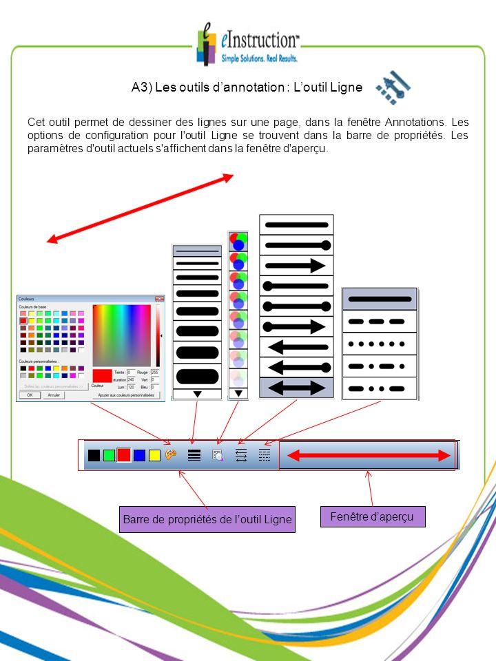 A3) Les outils d'annotation : L'outil Ligne