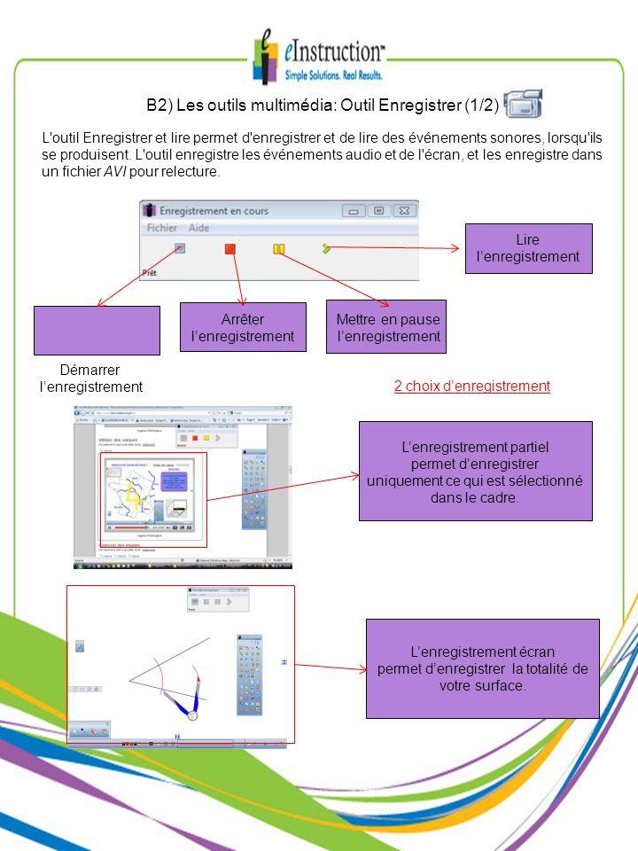 B2) Les outils multimédia: Outil Enregistrer (1/2)